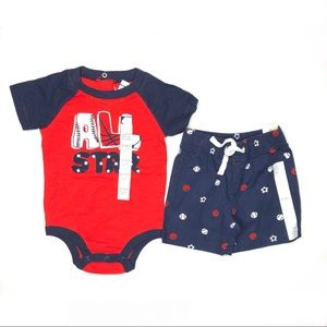 "Koala Kids ""All Star"" Outfit 3-6 Months Red Blue"
